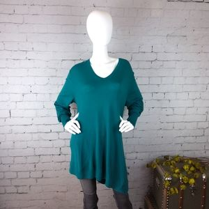 Sejour Soft Asymmetrical Tunic Sweater Teal 2X